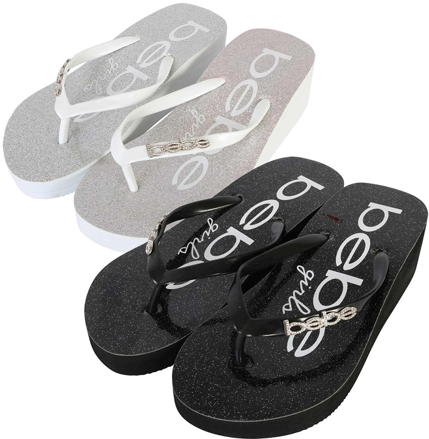 d00d3156ddc bebe Girls 2 Pack Glitter Wedge Flip Flop Thong Sandals (Little Kid Big Kid)