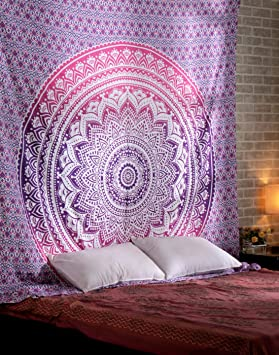 Ombre Tapisserie Indienne Rose Decoration Murale Hippie Bohème - Decor de chambre boheme a vendre