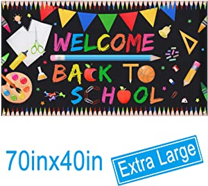 """Welcome Back To School Banner - Extra Large Fabric 70"""" X 40"""" - First Day Of School Backdrop Banner - Welcome Back To School Party Decorations Supplies - Classroom Office School Photo Backdrop Decor"""