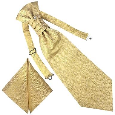 79d609825d9e GASSANI 3- SET Plastron   Gelbe breite Krawatte   Einstecktuch   Binder zum  Anzug Verlobung