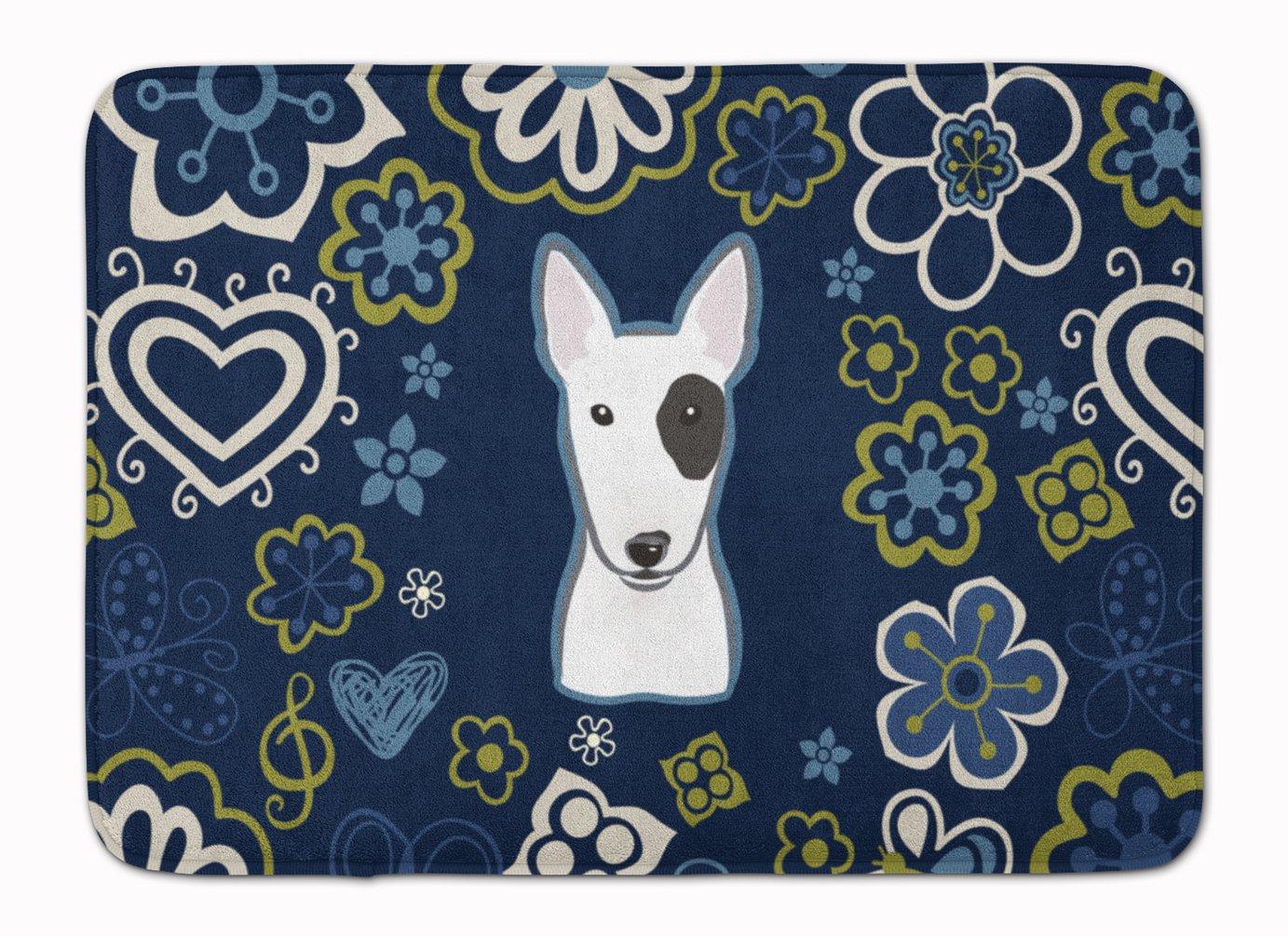 Caroline's Treasures Blue Flowers Bull Terrier Floor Mat 19' x 27' Multicolor