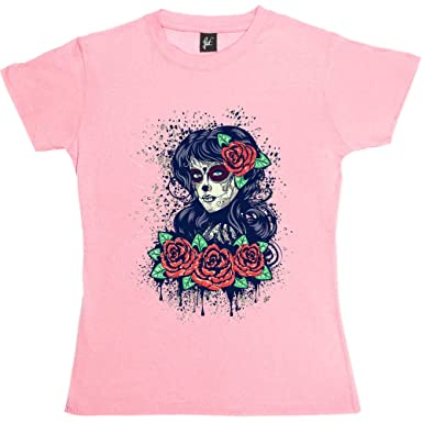 61b5bd7c Fancy A Snuggle Sugar Skull Woman Day of The Dead with Red Roses Womens  Boyfriend Fit T-Shirt: Amazon.co.uk: Clothing