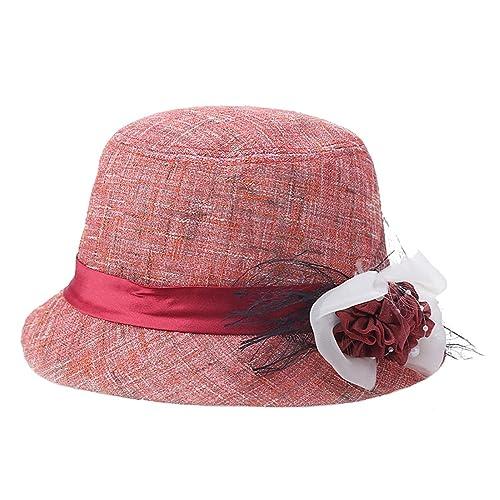 TYGRR Sombrero Del Jugador De Bolos Señoras Lino Sombrero De La Manera Casquillo Del Sol Sombrero De...