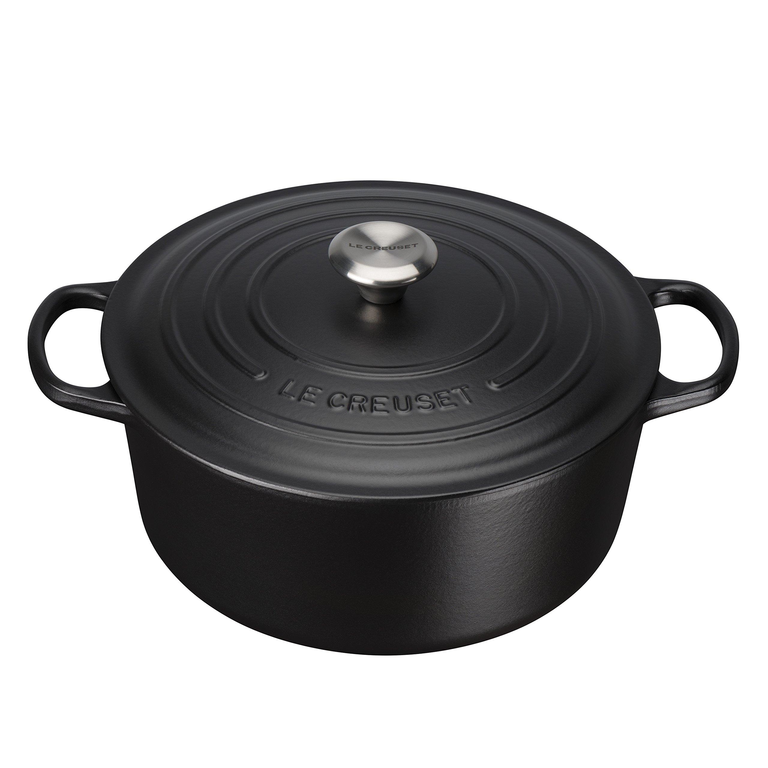 Le Creuset Cocotte Signature ronde en fonte émaillée, 28cm, noir mat product image