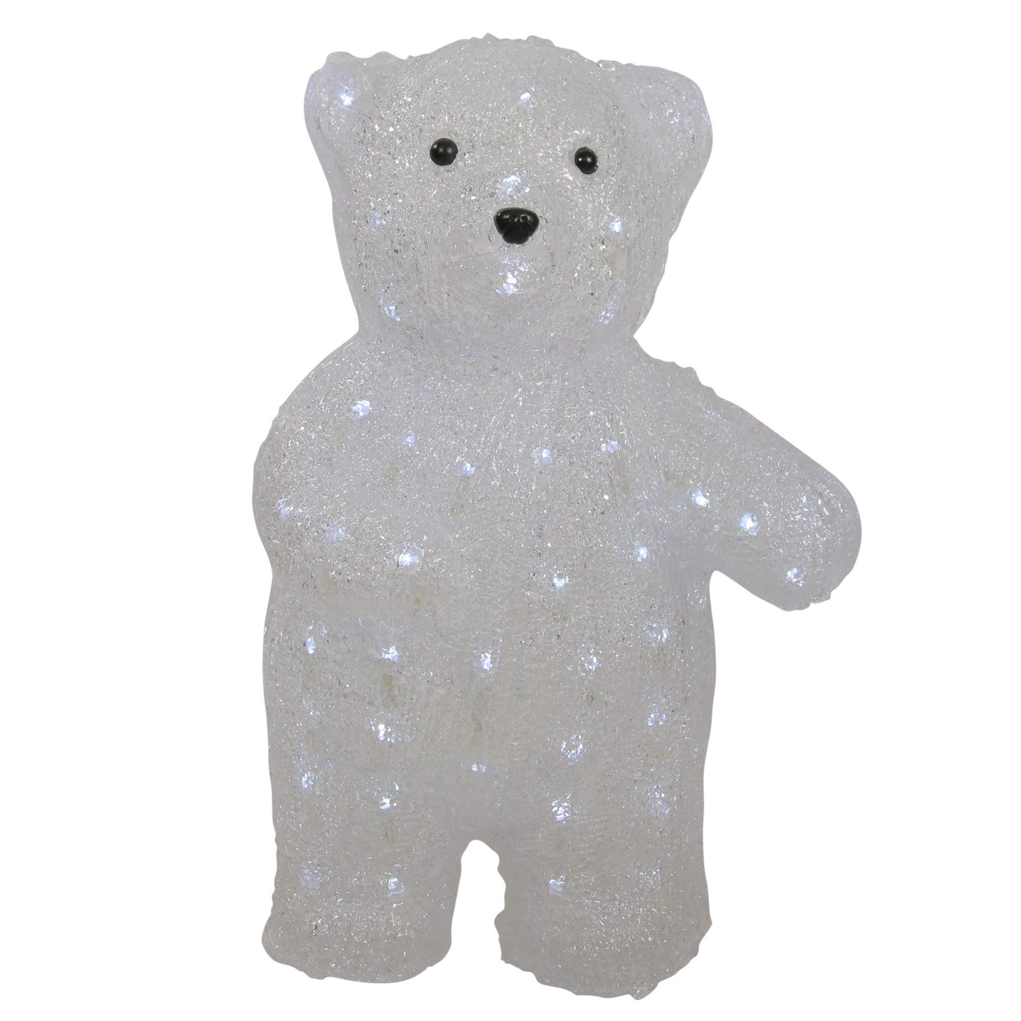 Northlight 17'' Pre-lit Acrylic Polar Bear Display Decoration - White LED Lights,