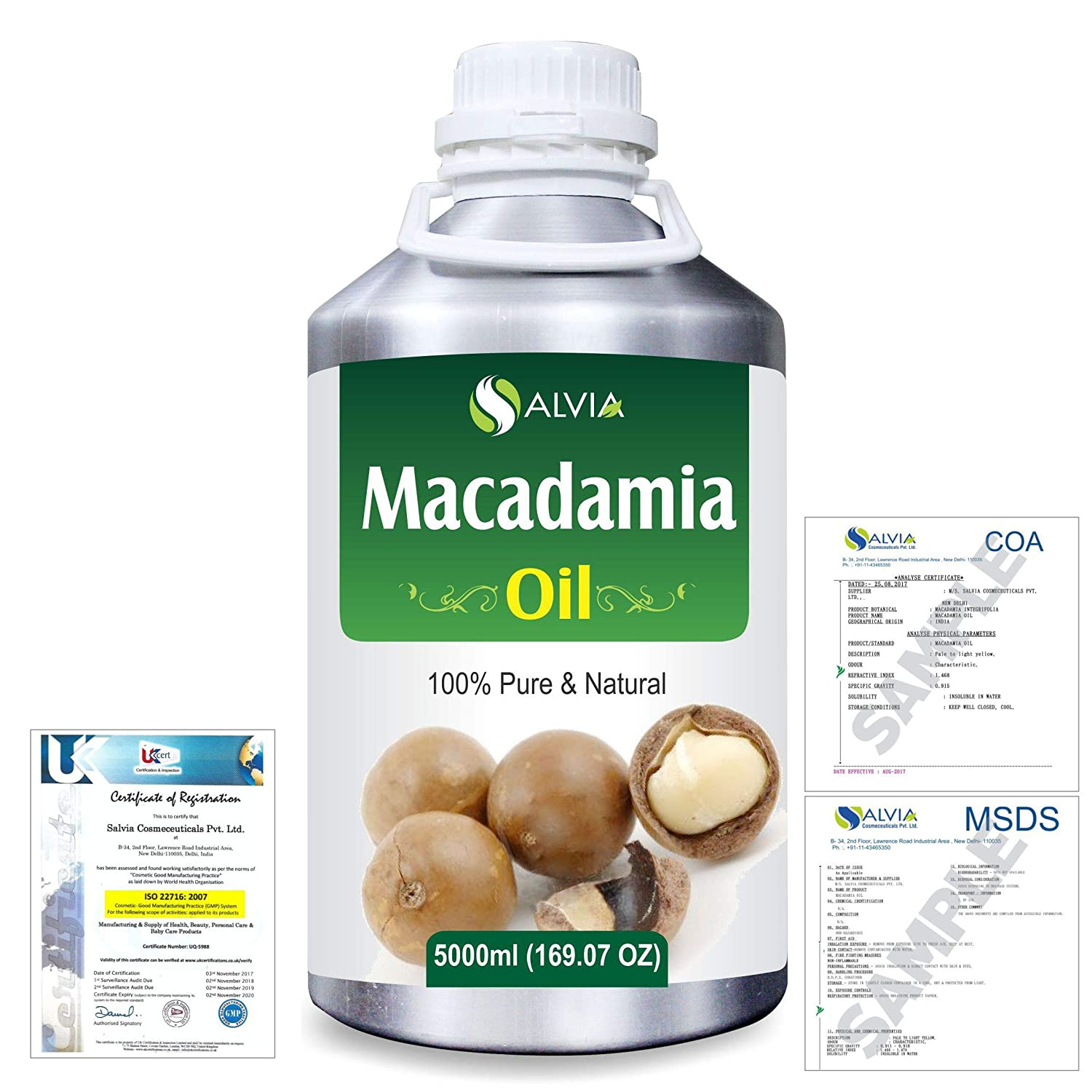 Macadamia (Macadamia Integrifolia) Natural Pure Undiluted Uncut Carrier Oil 5000ml/169 fl.oz. B07R3JNTHY