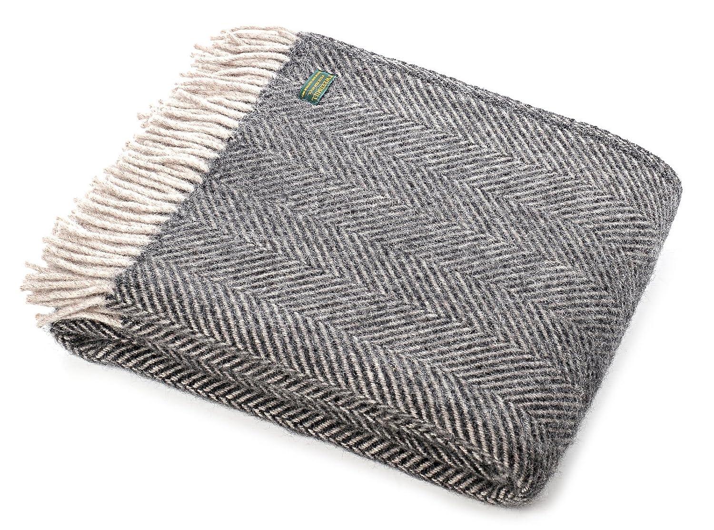 Tweedmill Textiles Schurwolle Decke Überwurf, Fischgrätmuster, anthrazit Silber