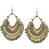 Zephyrr Fashion German Silver Beaded Chandbali Hook Earrings Jewellery for Women in 9 colors
