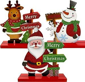 EBaokuup 3Pcs Christmas Table Sign Wood Christmas Table Top Sign Decor Table Snowman Santa Reindeer Merry Christmas Happy Holidays Centerpiece for able Top Fireplace
