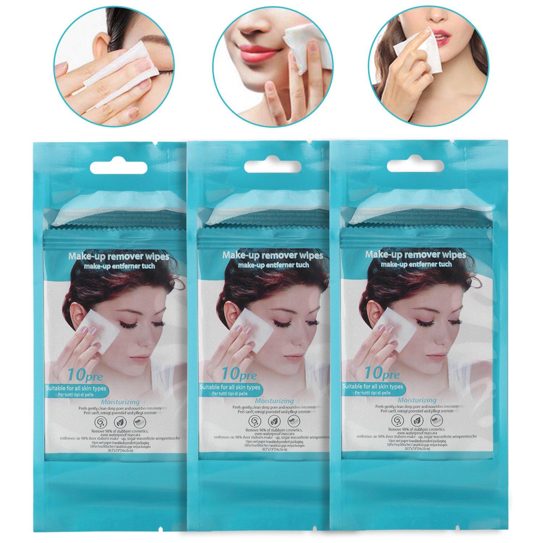 Salviettine struccanti salviettine per salviettine da 10 in 1 - Salviette per pelli sensibili e secche/3 x 10 pezzi