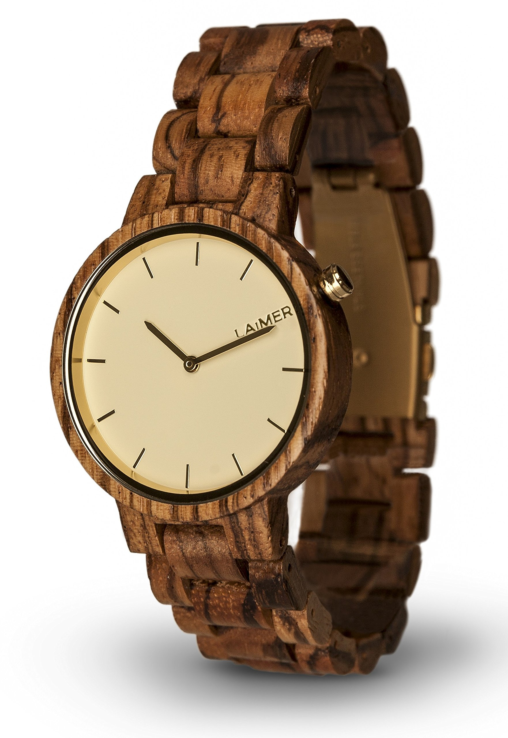 LAiMER Women's Wooden Watch MELANIE - Wrist Watch made of natural Zebrano Wood - Simple Elegance, Nature & Lifestyle