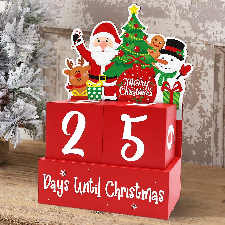Huray Rayho Christmas Countdown Wood Blocks Decor Christmas Countdown Calendar Tabletop Decoration Santa Snowman Reindeer Nativity Winter Wooden Signs Days Until Christmas with Number Blocks