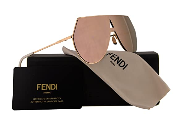 c71b03a265 Fendi FF0193 S Sunglasses Rose Gold w Silver Pink Mirror Lens 99mm 0000J  FF0193S FF 0193S FF 0193 S  Amazon.co.uk  Clothing