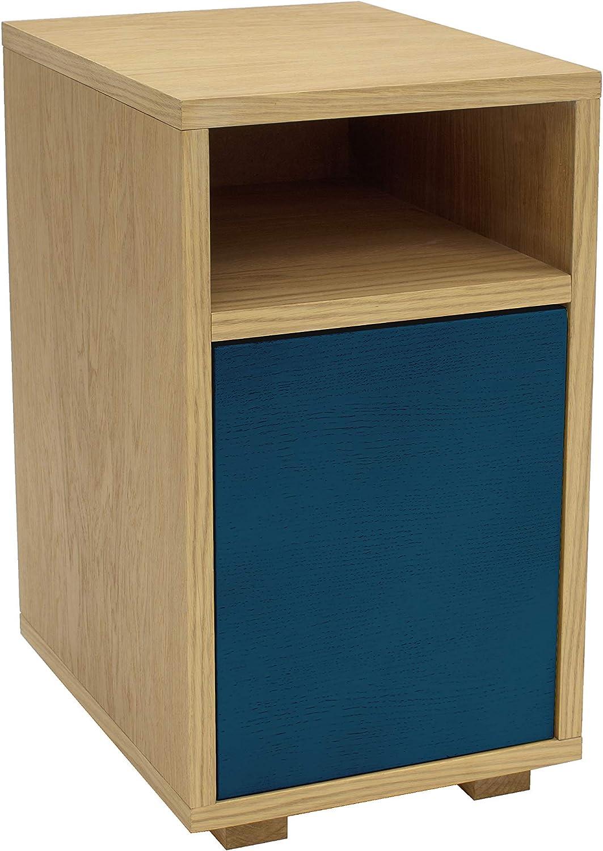 Mesita madera puerta azul