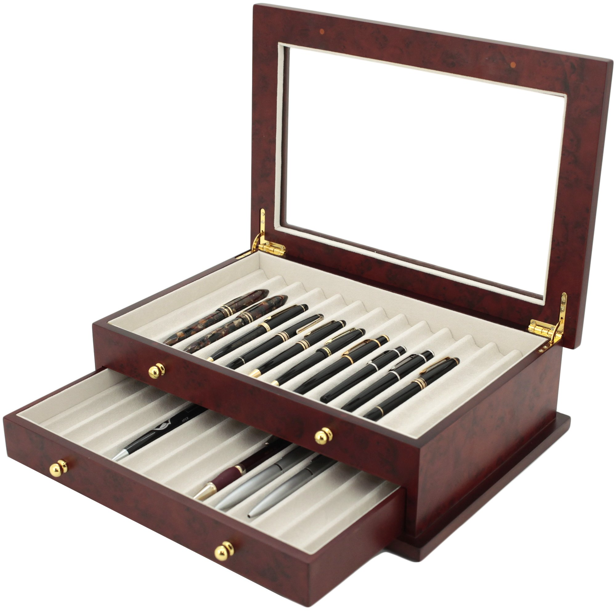 Pen Box 26 Fountain Pens Writing Instruments Wood Constructed Glass Display Case (Burlwood) by Tech Swiss (Image #1)