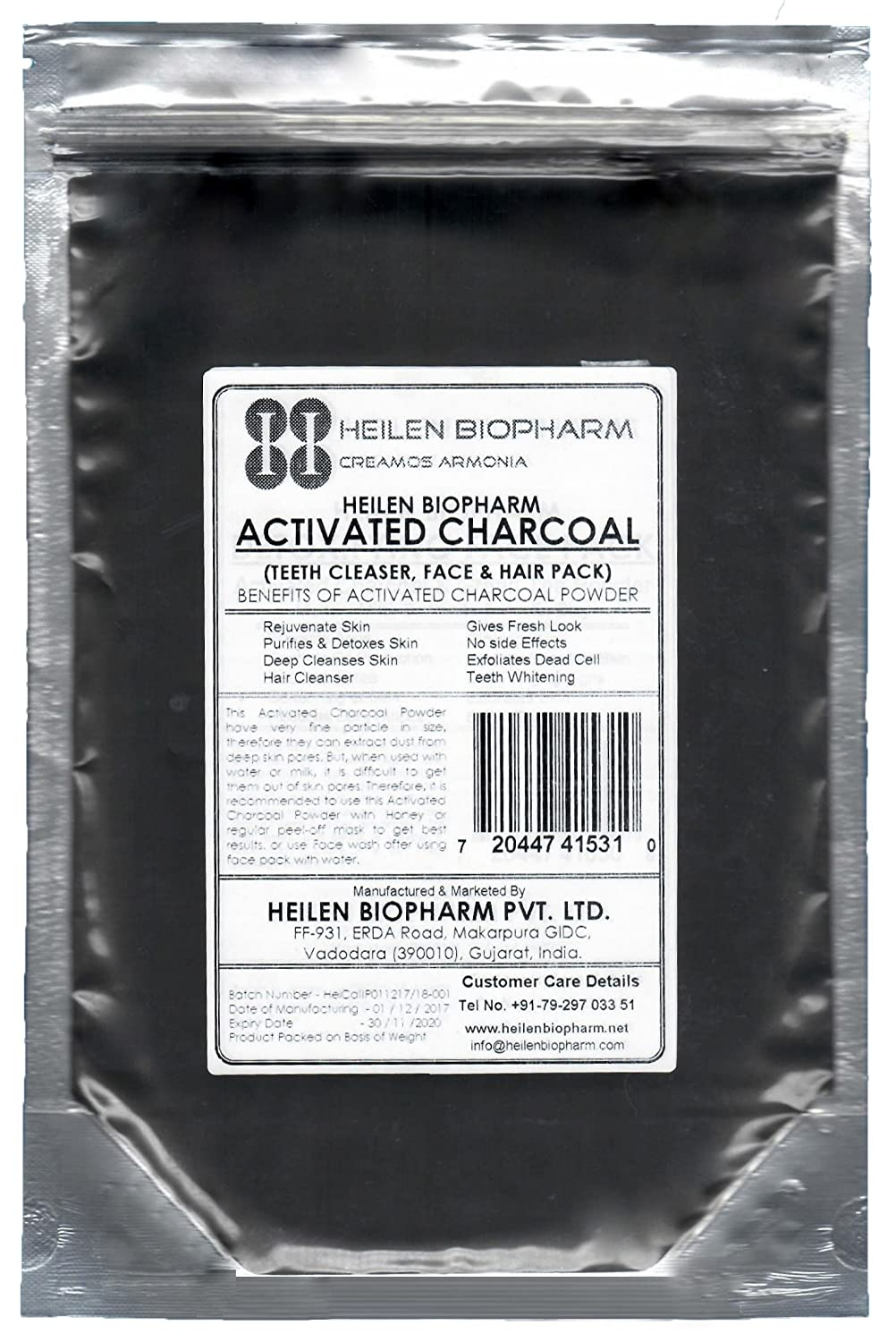 Polvere di carbone attivo per Face Pack (Activated Charcoal Powder for Face Pack) (400 gm / 14 oz / 0.88 lb)