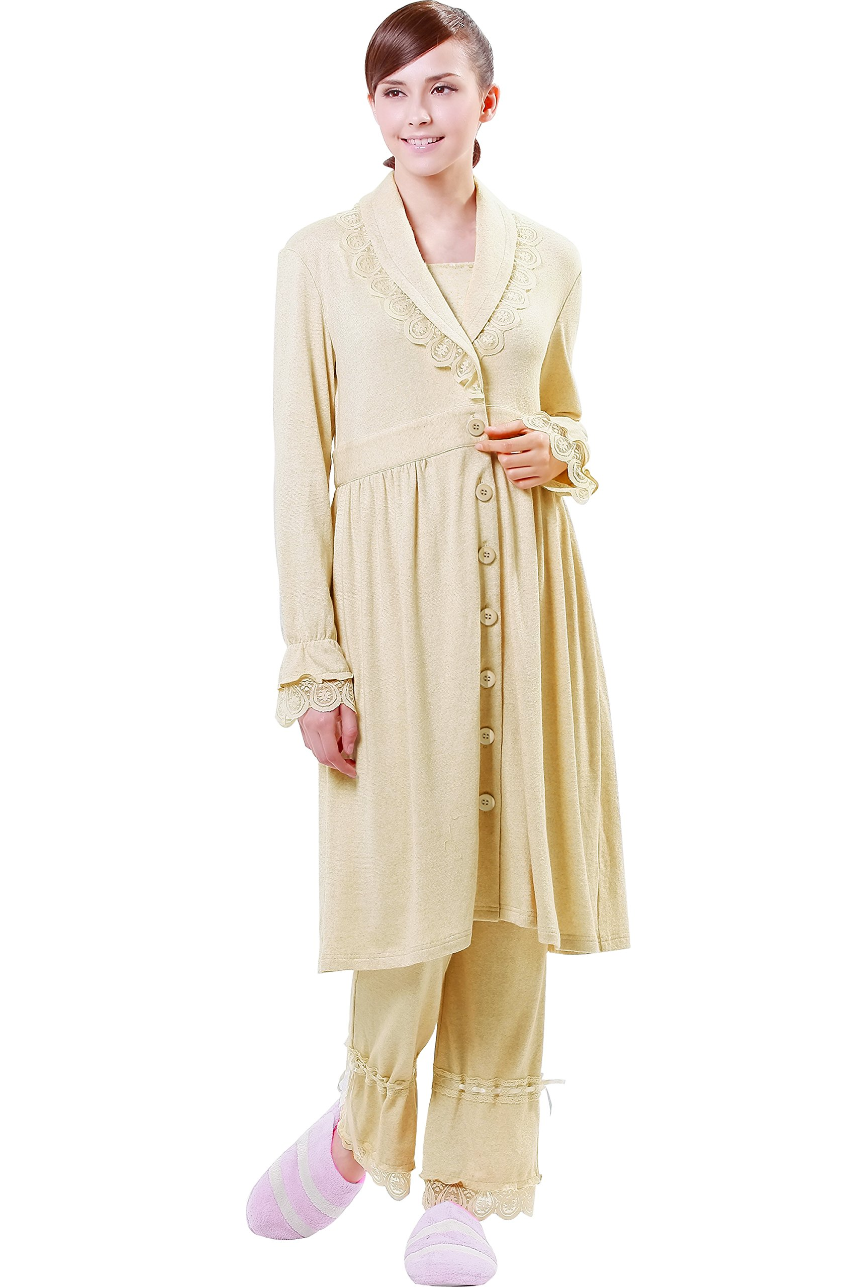 Sweet Mommy Organic Cotton Maternity and Nursing Pajama Set LightBeige, L by Sweet Mommy