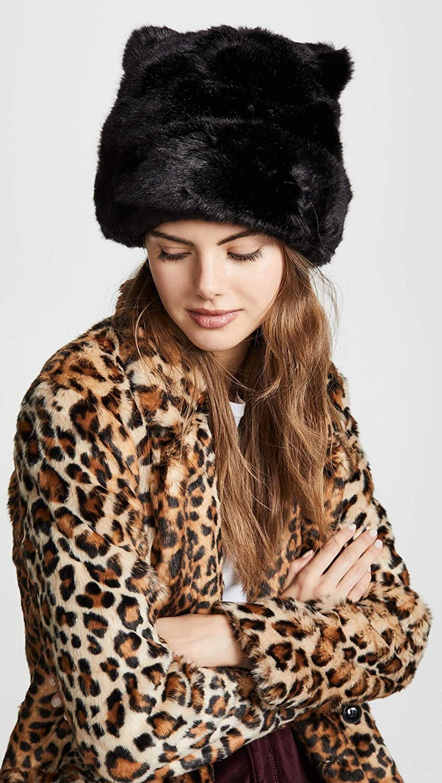 f8b6da509c44 Amazon.com: Kate Spade New York Women's Faux Fur Hat with Ears,  Black/Black, One Size: Clothing