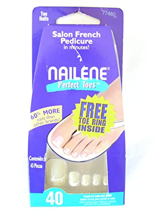 Amazon.com : Nailene Salon French Pedicure, 40 French Toe Nails Plus Glue, 77460 : Manicure Kits : Beauty