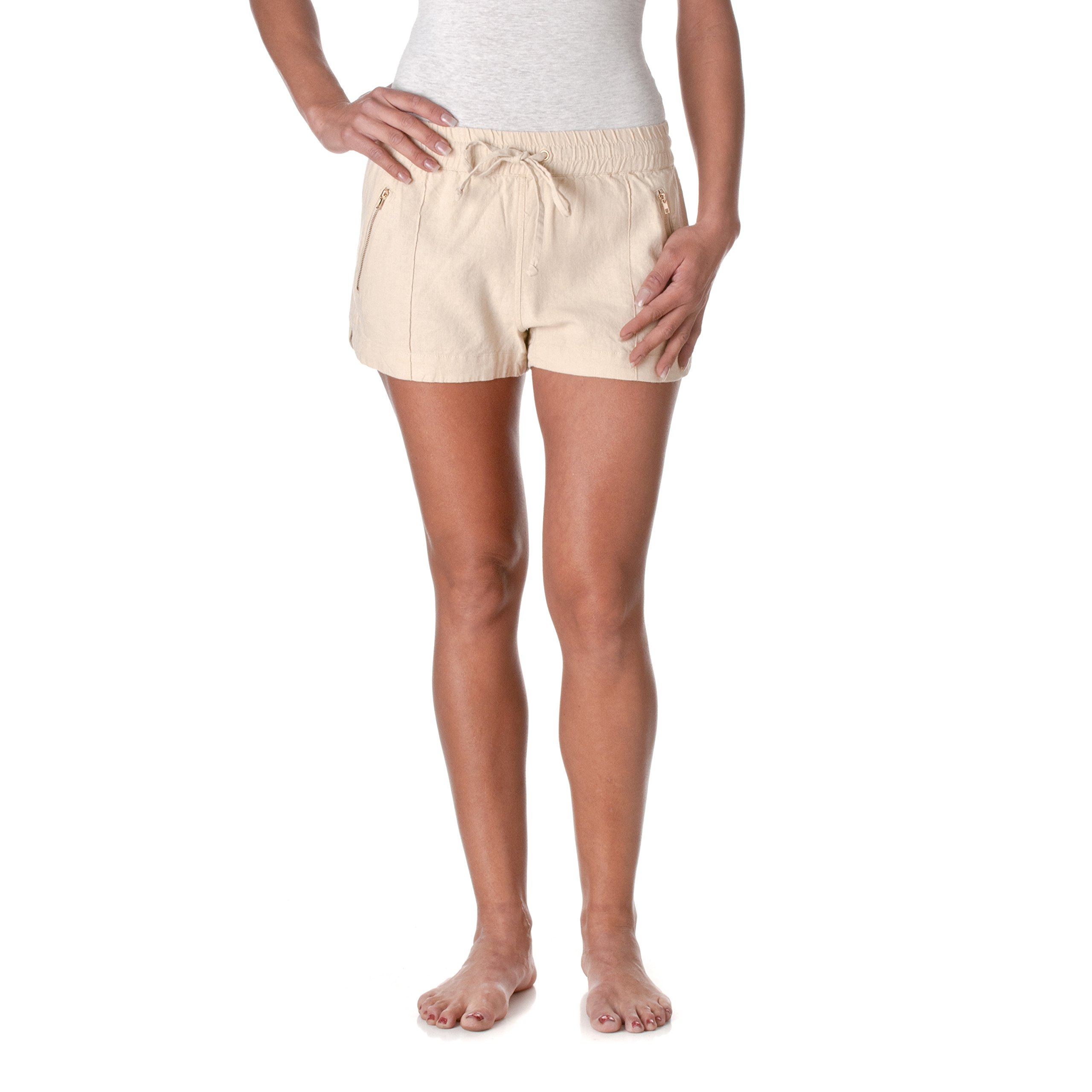 Love Tree Women's Drawstring Linen Shorts with Zipper Accents, Taupe, Small