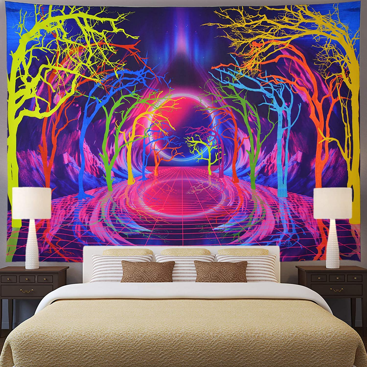 Trippy Trees Tapestry Psychedelic Sun and Mountain Tapestry Colorful Retro Wave Tapestry Abstract Hippie Neon Landscape Tapestry Wall Hanging for Living Room W59×H51