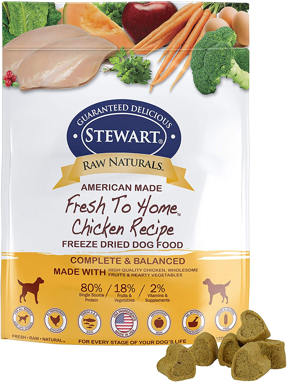 Raw Naturals by Stewart Freeze Dried Dog Food in Resealable Pouch, 12-Ounce, Chicken
