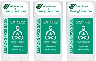 product image for Green Goo Natural Deodorant for Men and Women, Lemongrass and Sage, 2.2 Ounce, Pack of 3 (Packaging May Vary)