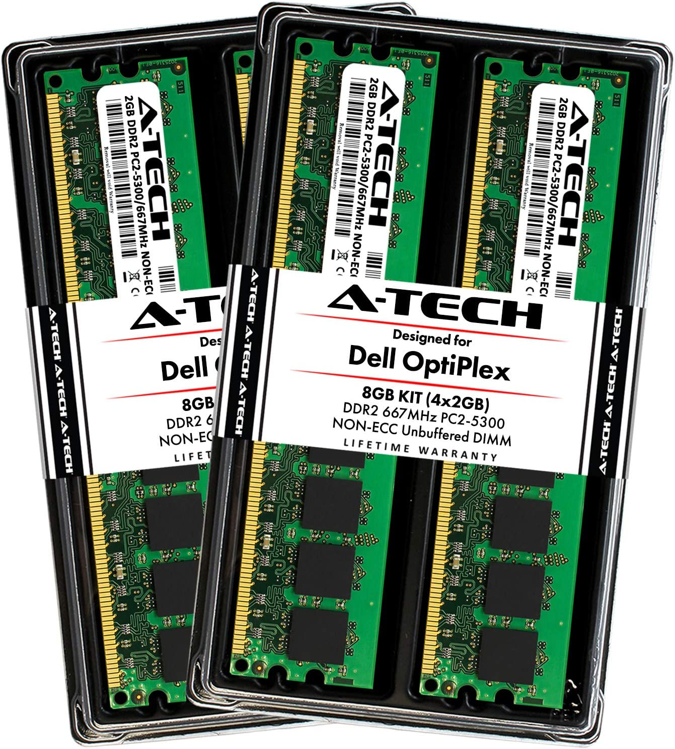 A-Tech 8GB (4X 2GB) Max Memory RAM Kit for Dell OptiPlex 755, 745, 740, (MT, DT, SFF) - DDR2 667MHz PC2-5300 Non-ECC DIMM Upgrade