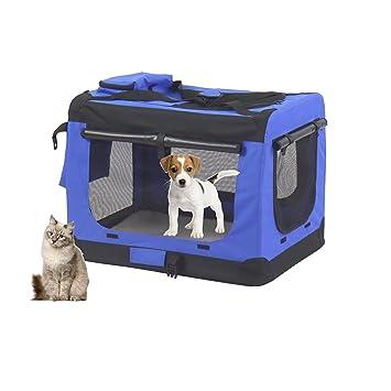 MC Star Bolsa de Perro Plegable Portátil Portador de Mascotas Transportín Perros ,Con bolsa de comida - L 70 x 52 x 52cm (Negro,Azul): Amazon.es: Productos ...