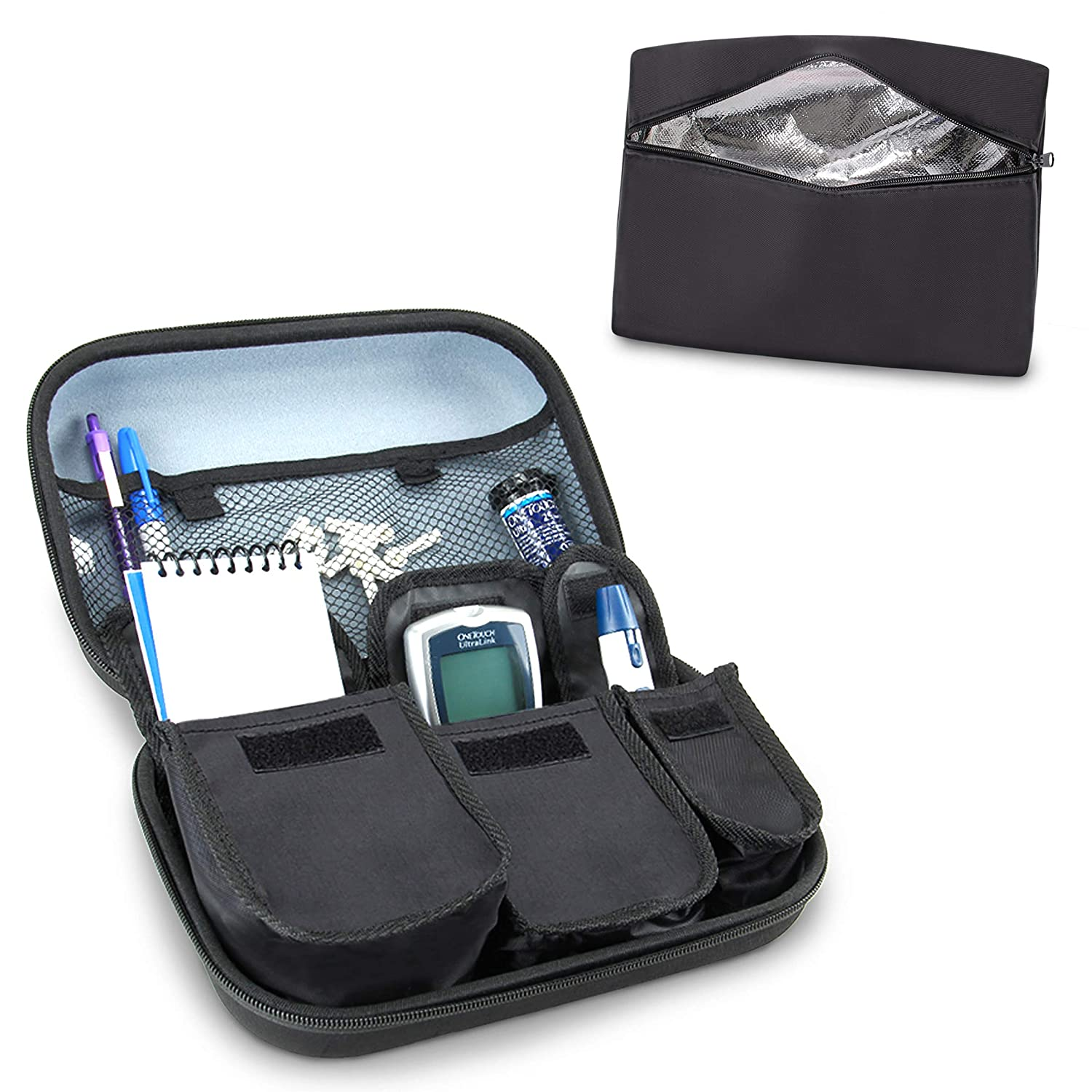 USA Gear Diabetic Supply Carrying Case with Insulin Travel Case Cooler - Organizer for Blood Glucose Monitoring Systems, Pens, Syringe Case, Insulin Case & More - Black + Insulin Cooling Case