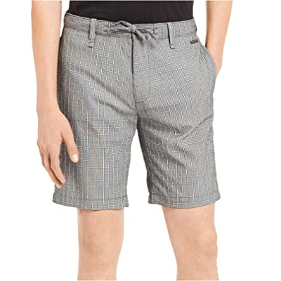 Calvin Klein Men's Classic-Fit Stretch Windowpane Seersucker Shorts (Grey Plaid, 40W) at Men's Clothing store