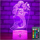 Easuntec Mermaid Toys Night Light with Remote & Smart Touch 7 Colors + 16 Colors Changing Dimmable Mermaid Gifts 1 2 3 4 5 6