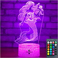 Easuntec Mermaid Toys Night Light with Remote & Smart Touch 7 Colors + 16 Colors Changing Dimmable Mermaid Gifts 1 2 3 4…