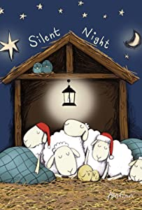 Toland Home Garden Silent Night 12.5 x 18 Inch Decorative Cute Barnyard Christmas Sheep Nativity Garden Flag