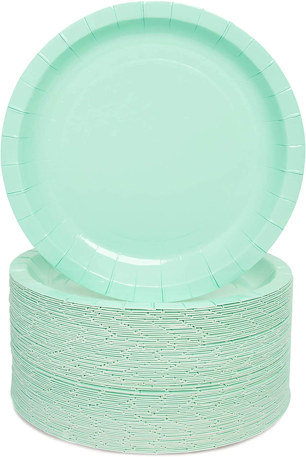 Mint Green Paper Party Plates (7 Inches, 80 Pack)