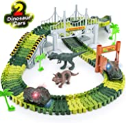 Dinosaur Toys,156pcs Create A Dinosaur World Road Race,Flexible Track Playset and 2 pcs Cool Dinosaur car for 3 4 5 6 Year &