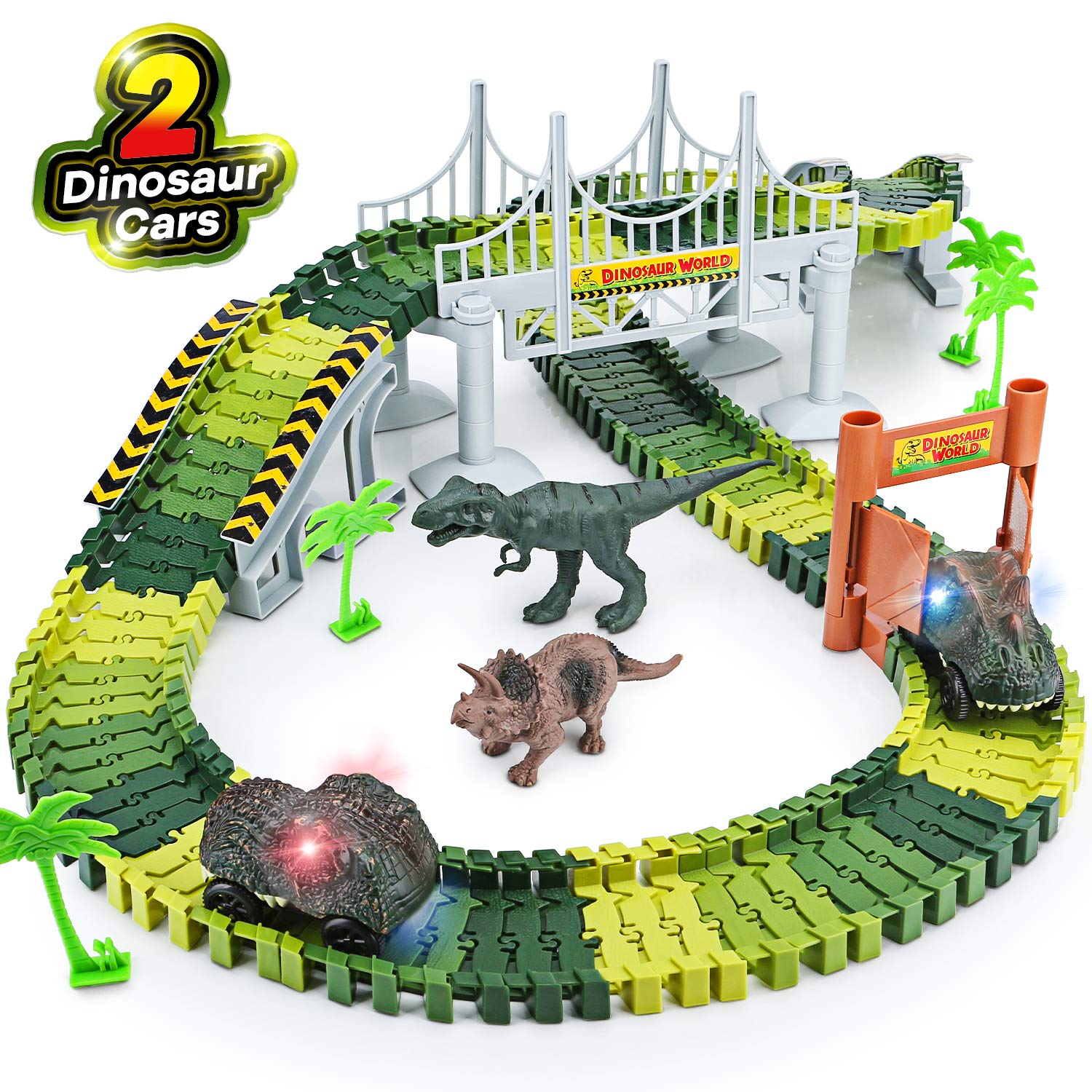 Dinosaur Toys,156pcs Create A Dinosaur World Road Race,Flexible Track Playset and 2 pcs Cool Dinosaur car for 3 4 5 6 Year & Up Old boy Girls Best Gift (Green-1) by Toyk