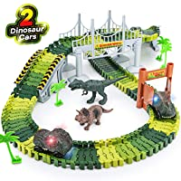 Dinosaur Toys,156pcs Create A Dinosaur World Road Race,Flexible Track Playset and...