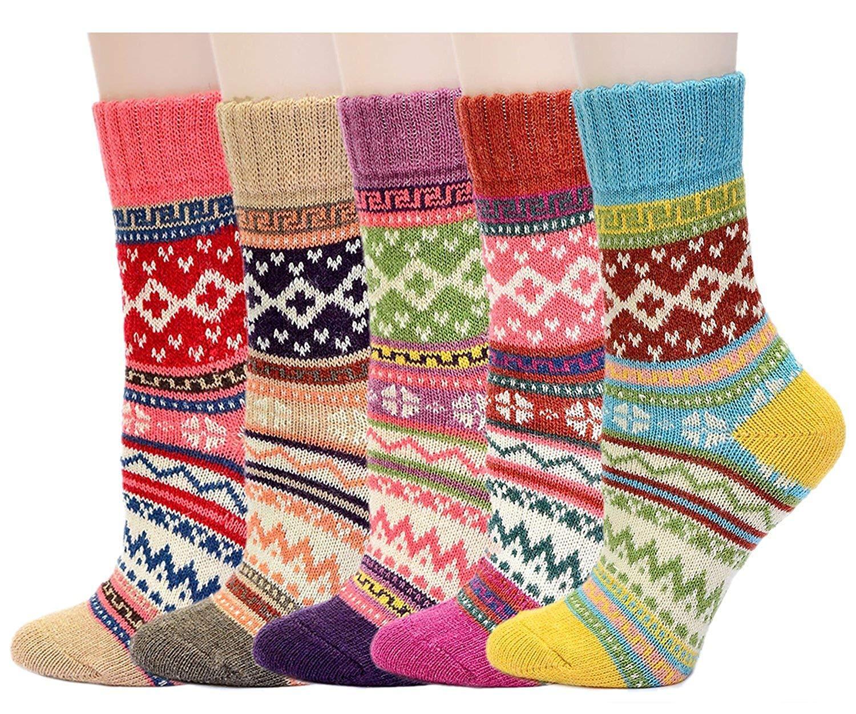 Hanmorlla Women Socks Winter Warm Knit Thick Wool Socks Casual Vintage Thermal Socks for Winter 5 Pairs