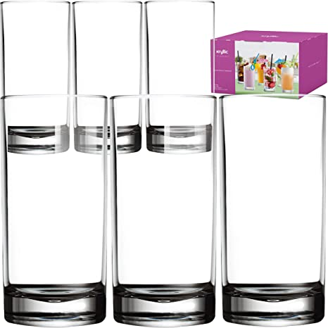 4f17f77db81e Plastic Tumbler Cups Drinking Glasses - Acrylic Highball Tumblers Set of 6 Clear  16 oz Unbreakable