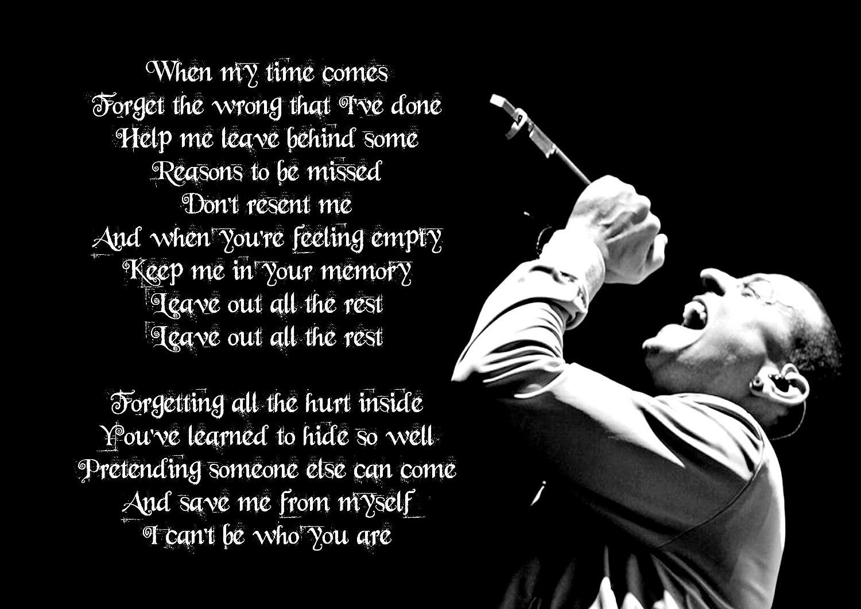 Amazon De Leave Out All The Rest Linkin Park Chester Bennington A3 Poster Songtext Great Rock Metal Album Cover Design Musik Band Best Foto Bild Einzigartiger Druck