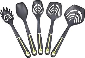 AmazonBasics 5-Piece Nylon Kitchen Cooking Utensil Set, Soft Grip Handle, Grey and Green