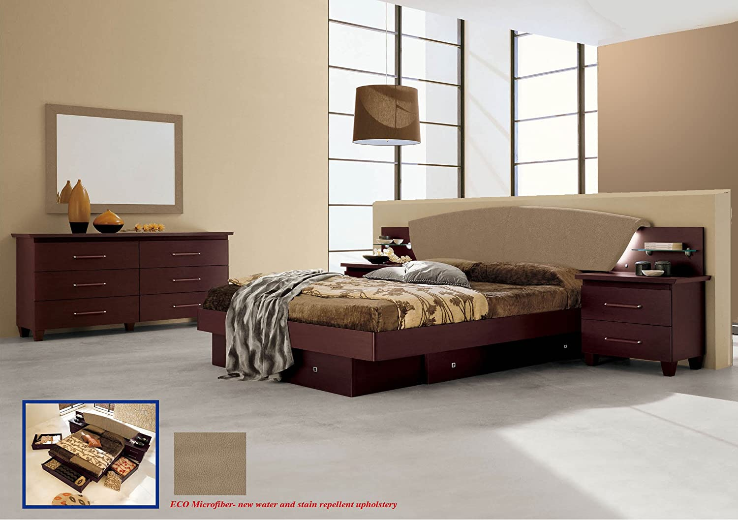 Amazon com italian modern contemporary bedroom set king size miss italia by camelgroup italy kitchen dining