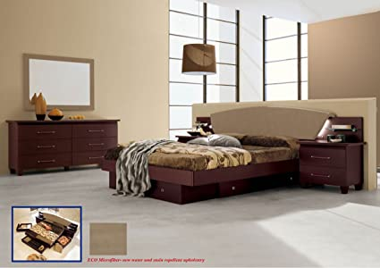 Amazon.com: Italian Modern Contemporary Bedroom Set King ...