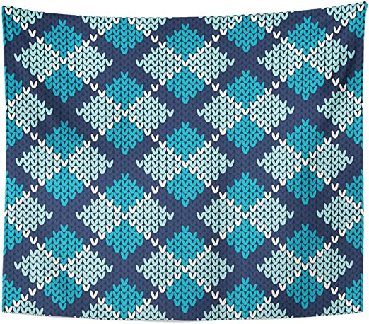 Tapestry Blue Knit Argyle Knitted Pattern Tartan Home Decor Wall Hanging for Living Room Bedroom Dorm 50x60 Inches: Amazon.es: Juguetes y juegos