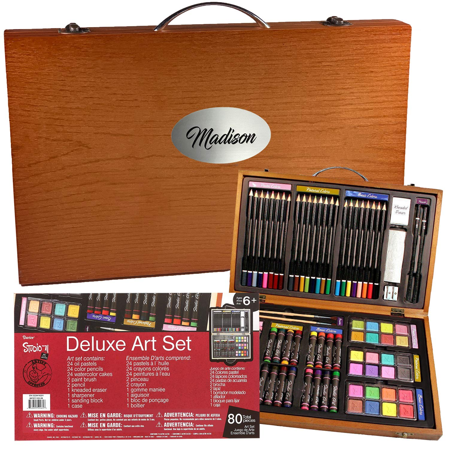 Personalized Art Set, Deluxe Drawing Painting Supplies, Portable Case, 80 Pieces All Things Weddings