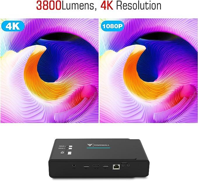 TENS Wall proyector, 3800 Lumens Mini DLP proyector 1280 x 800 ...