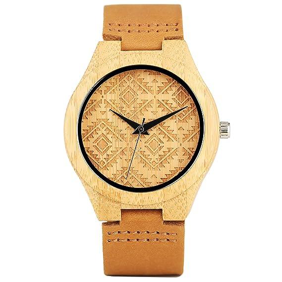 Reloj de pulsera de madera de bambú con dial simple, mecanismo de cuarzo japonés y correa de cuero auténtico para hombre: Amazon.es: Relojes