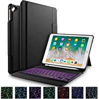 "IVSO Tastatur Hülle iPad 9.7"" 2018/2017, [QWERTZ Deutsches], Schutzhülle mit Wireless Tastatur für Apple iPad 9.7 2018/2017/iPad Pro 9.7/ iPad Air 2/iPad Air 9.7 Zoll, Schwarz"
