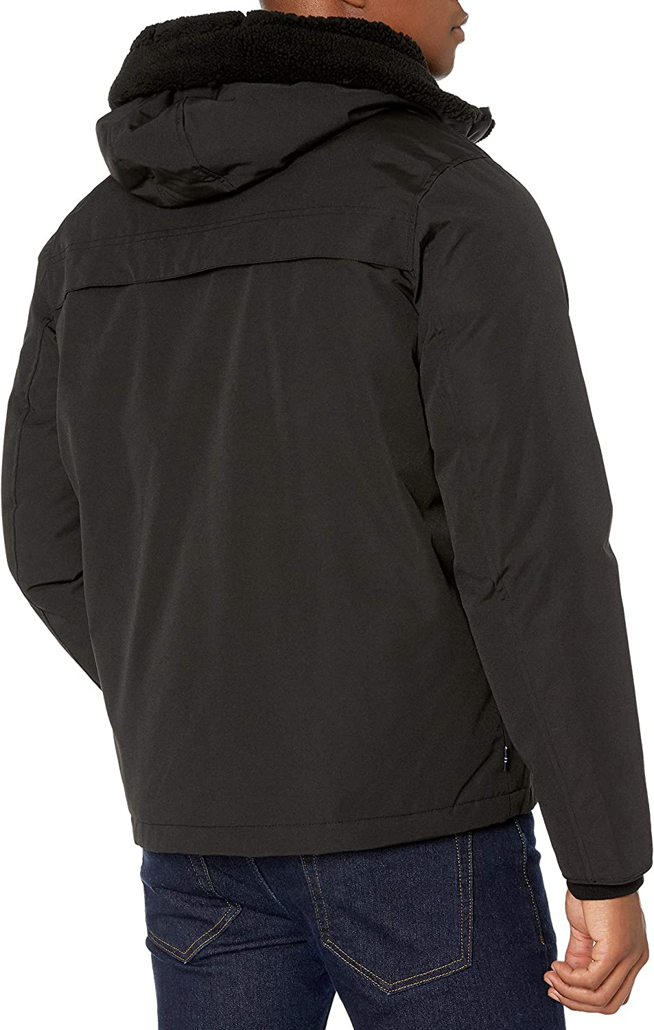 IZOD Mens Ultra Warm Hipster Jacket with Sherpa Trim